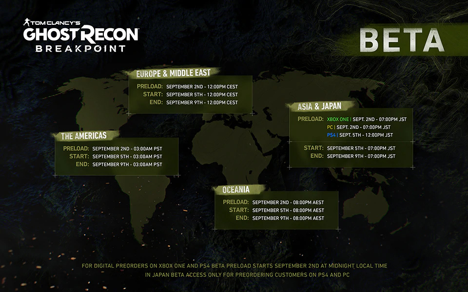 《幽灵行动:断点》9月5日开启B测 测试内容公布