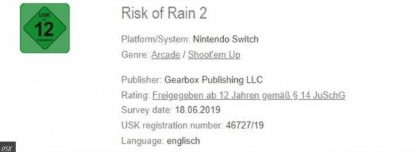 《雨中冒险2》通过评级审核 即将登陆Switch平台