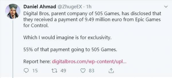 Epic支付949万欧元 买断《控制》PC平台独占权