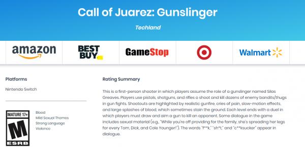 ESRB分级网站曝光 《狂野西部:枪手》将登陆Switch